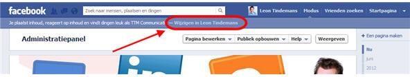 Blauwe balk boven administratiepanel in Facebook - Facebook Kennisbank