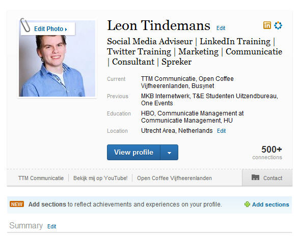 Nieuwe indeling LinkedIn profiel - LinkedIn