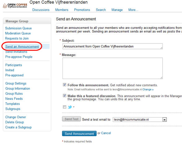 Send an announcement - LinkedIn Kennisbank