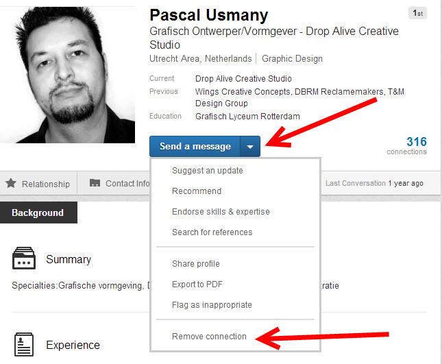 Connectie verwijderen op LinkedIn 2013 - Andere methode