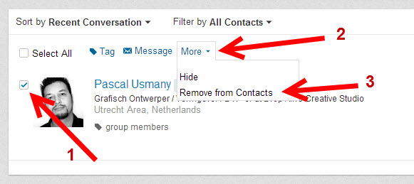... op Remove en dan bent u niet meer met elkaar verbonden op LinkedIn